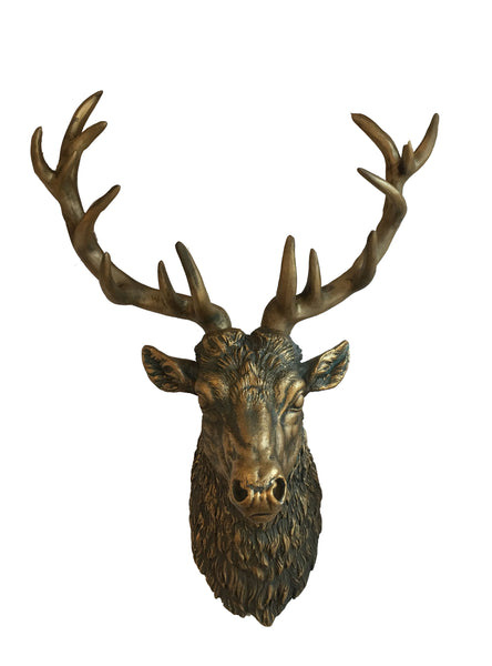Wall Decor :Stag head – Large Antique Gold Bronze Silver Stag head – Traditional Deer Wall Head