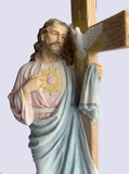 Jesus With Sacred Heart Leaning On The Dove Cross
