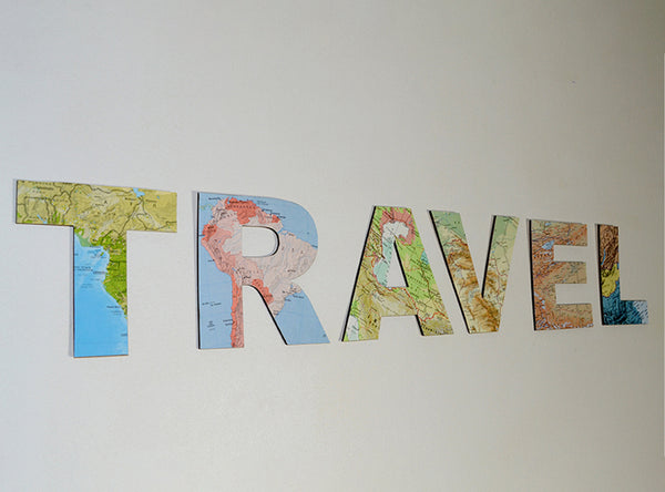 TRAVEL Wooden Sign - Map Découpage Wooden Letters - Vintage Atlas Map Decor