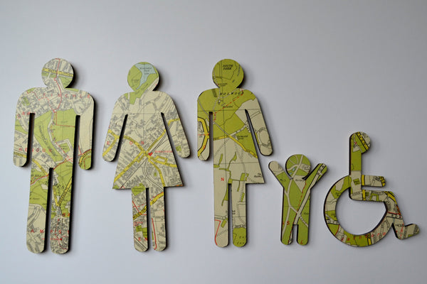 ADA Family Restroom Sign - Transgender Sign - Wheelchair User Sign - Vintage Maps Recycle - WC Sign