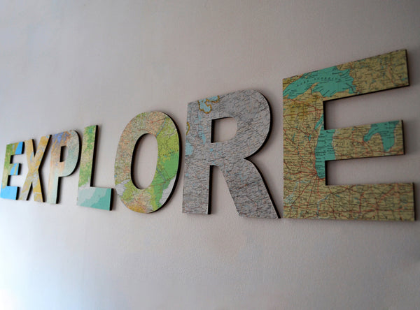 EXPLORE Map Letters – Travel Theme Wedding Signs – Map Atlas Topped Wooden Letters