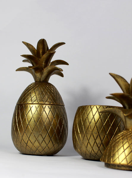 Pineapple Trinket Pot - Hollywood Regency - Decorative Pineapple Gold