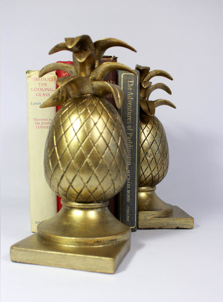 Pineapple Bookends – Vintage Hollywood Regency Gift –  Antique Gold Bookends