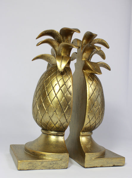 Pineapple Bookends, Vintage Hollywood Regency Home Gift, Gold Pineapple Bookends