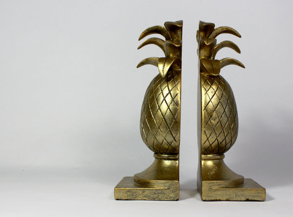 Pineapple Bookends - Vintage Hollywood Regency Gift - Antique Gold Bookends