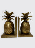 Pineapple Book End - Hollywood Regency - Hawaii Decor - Gold Pineapple Bookends