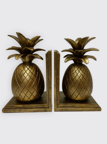 Pineapple Book End, Hollywood Regency, Hawaii Decor, Gold Pineapple Bookends