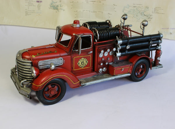 Vintage Fire Truck Model - Fire Engine - Retro Toy Fire Fighter - American Fire Truck