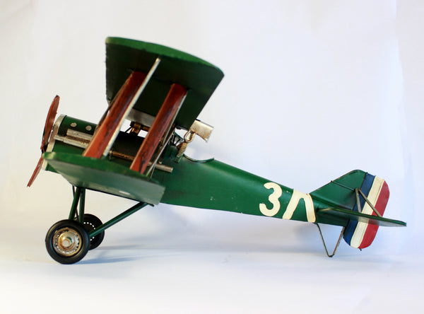 Vintage model planes - Green Antique Biplane - Boy's Gift - Aviator - Amelia Earhart's Plane