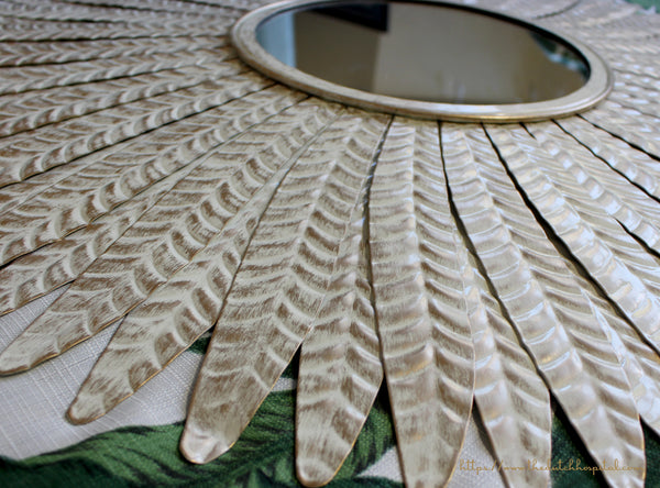 Feathered Effect White Metal Mirror – Large Leaf Mirror –  Metal Wall Mirror