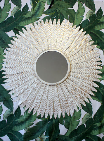 Gold & White Metal Mirror, Leaf Mirror, Large Feather Wall Mirror, Metal Wall Mirror