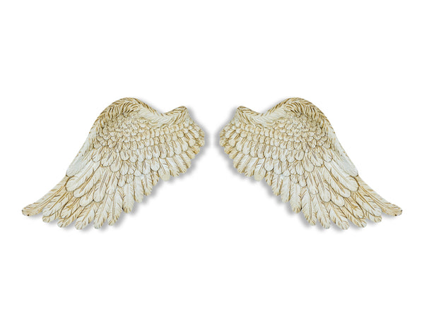 White Washed Distressed Angel Wings, White Angel Wings
