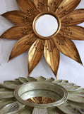 Gold Sunflower Mirror, Antique Gold Mirror, Hollywood Regency