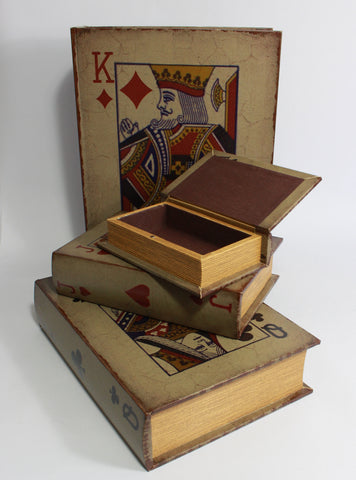 Alice In Wonderland, Playing Card Storage Boxes, Set of four Book Cases