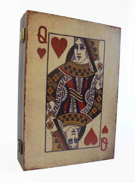 Queen Of Hearts Playing Card Wall Key Box - Wooden Key Holder - Lewis Carroll - Alice in Wonderland