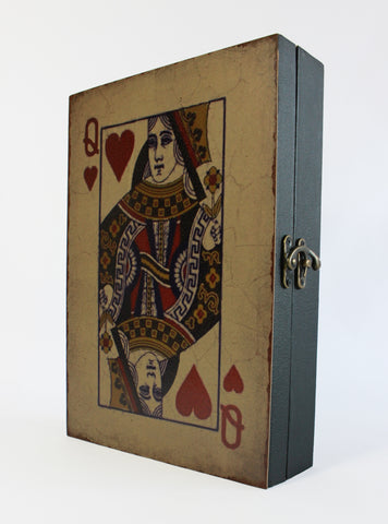 Queen Of Hearts Play Card Wall Key Box, Wooden Key Holder, Lewis Carroll, Alice in Wonderland