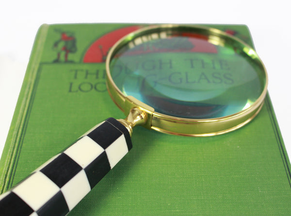 Magnifying Glass –  Alice In Wonderland Decor  –  Vintage Black & White Stripped Handle