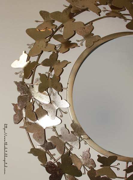 Butterfly Wall Mirror - Teen Girl Room Wall Decor -  Gold Butterfly Mirror