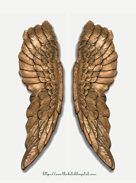 Large Antique Gold Angel Wings - Victoria's Secret Angel Wings - Fairy Wings