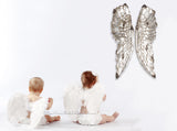 Large Silver Angel Wings - Large Fairy Wings - Antique Silver Wings Wall Decor