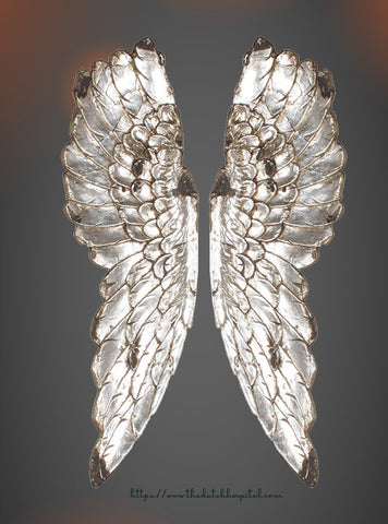 Distressed Silver Wings, Silver Angel Wings, Large Fairy Wings