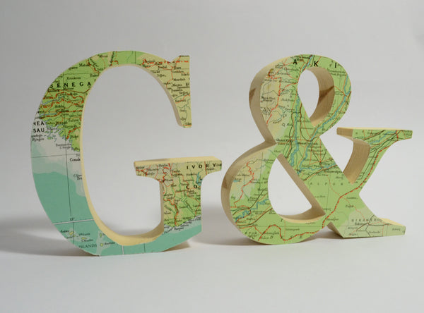 Personalised Map Letters –  Map Covered Wooden Letters –Travel Wedding Letters