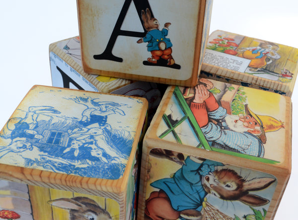 Personalised Name Blocks  – Peter Rabbit Wooden Blocks – Beatrix Potter Birthday  – Personalised Nursery Baby Shower