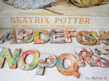 Small Wooden Alphabet, Beatrix Potter Alphabet, Peter Rabbit Nursery Toy
