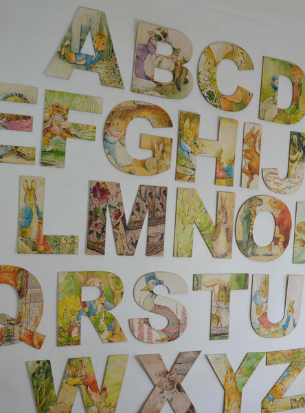 Beatrix Potter Wooden Alphabet Letters, Peter Rabbit Nursery Wall Art