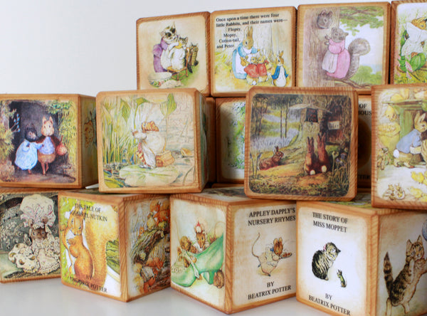 Peter Rabbit Wooden Baby Name Blocks -  Beatrix Potter's Story Blocks - A to Z Beatrix Potter Alphabet