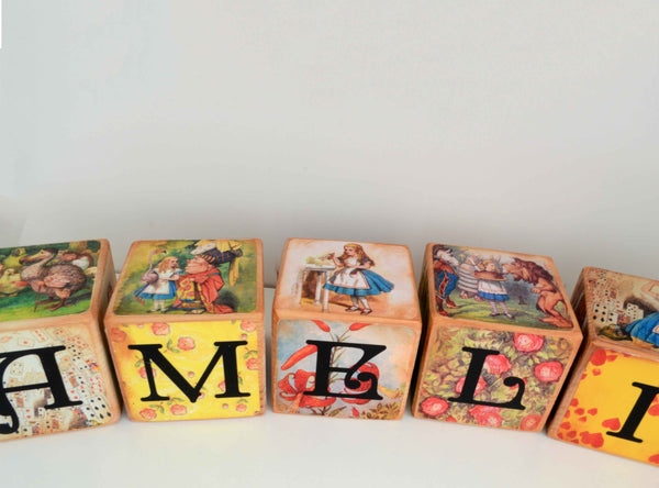 Alice In Wonderland Classic Vintage Wooden Blocks set of 5  – Non Personalise Baby Blocks