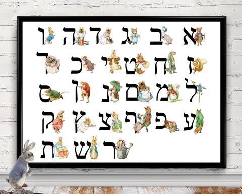 Hebrew Alphabet Print,  Beatrix Potter Alphabet, Peter Rabbit & Friends