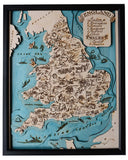 Vintage England Map Wooden Topographic Chart