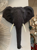 Large Elephant Wall Head - Large Knitted Grey Elephant