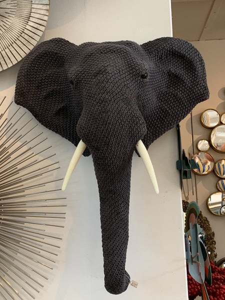 Animal Wall Decor – Large Knitted Grey Elephant Wall Mount