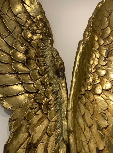 Large Wings –  Distressed Golden Fairy Wings – Very Large Pair of Wings –  Angel Wings Wall Decor