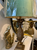 Large Gold Pineapple Table Lamp with Green Shade - Mid Century Table Lamp