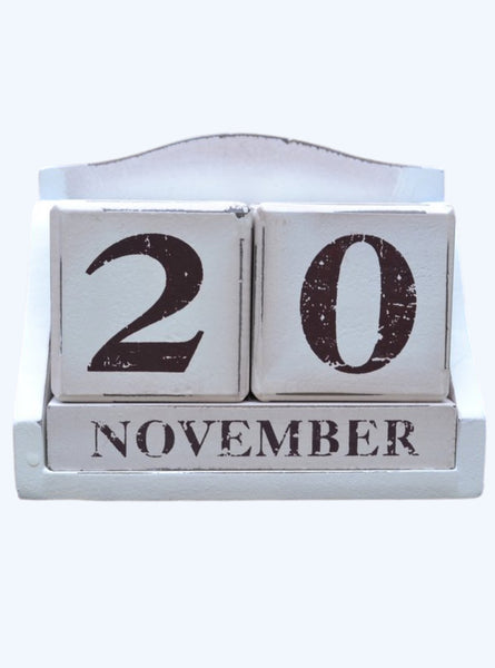 Wood Block Perpetual Calendar – Desk Calendar – Rustic Country Style Wooden Block