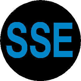 Short Service Employee (SSE) Hard Hat Sticker - Blue Text on Black Background - 1.5 inch diameter