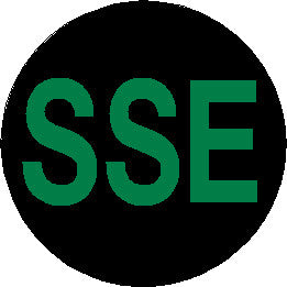 Short Service Employee (SSE) Hard Hat Sticker - Green Text on Black Background - 1.5 inch diameter
