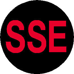 Short Service Employee (SSE) Hard Hat Sticker - Red Text on Black Background - 1.5 inch diameter