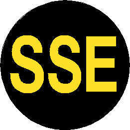 Reflective Short Service Employee (SSE) Hard Hat Sticker - Yellow Text on Black Background - 2 inch diameter
