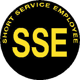 Short Service Employee (SSE) Hard Hat Sticker - Yellow Text on Black Background - 2 inch diameter