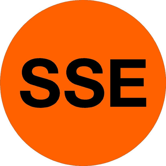 black text on orange vinyl short service employee sticker