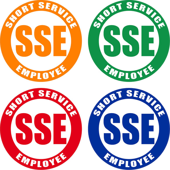 Various Color Short Service Employee (SSE) Hard Hat Sticker - 1.5