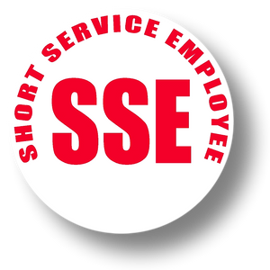 Reflective Short Service Employee (SSE) Hard Hat Sticker - Red Text on White Background - 2 inch diameter