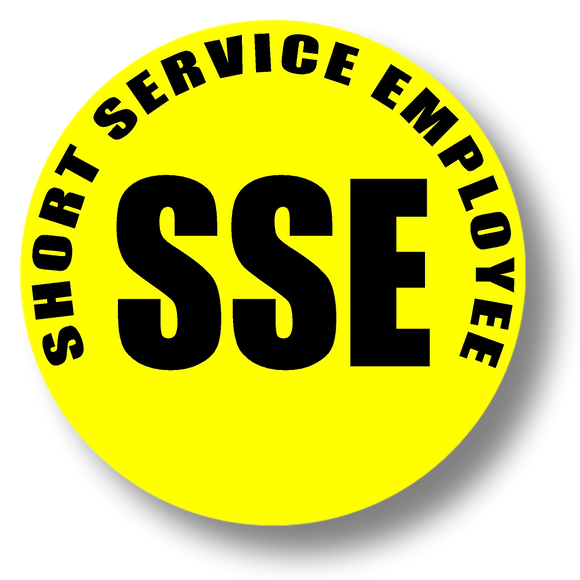 Reflective Short Service Employee (SSE) Hard Hat Sticker - Black Text on Yellow Background - 1.5 inch diameter