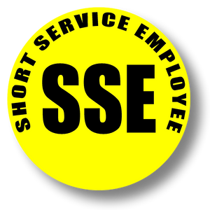 Reflective Short Service Employee (SSE) Hard Hat Sticker - Black Text on Yellow Background - 2 inch diameter
