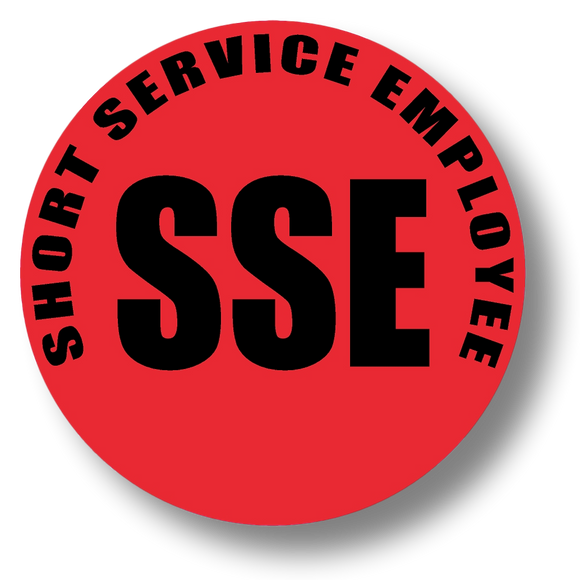 Short Service Employee (SSE) Hard Hat Sticker - Black Text on Red Background - 1.5 inch diameter