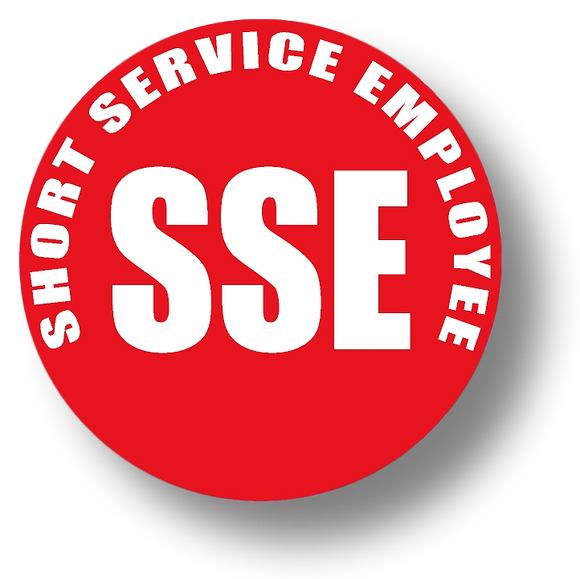 Short Service Employee (SSE) Hard Hat Sticker - White Text on Red Background - 1.5 inch diameter